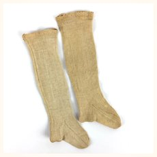 Antique long doll's socks