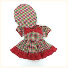 Very Cheerful Vintage plaid dress and hat for composition doll