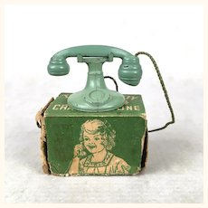 Vintage Tootsie Toy Dollhouse Telephone in Original Box.