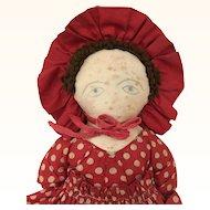 Vintage Handmade cloth folk art doll in wonderful polka dot dress