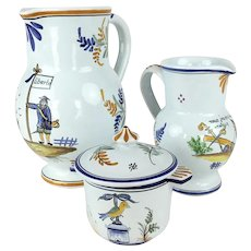 """Vintage French Handpainted """"Decors Nevers"""" Two Pitchers and Sugarbowl"""