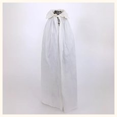 Unusual antique white linen doll's cape with beautiful whitework collar