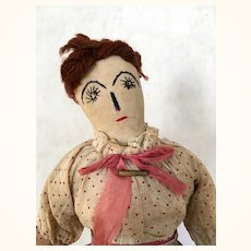 Handmade Folk Art Cloth Doll with wonderful hands