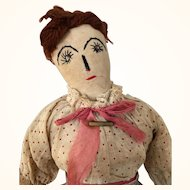 Handmade Folk Art Cloth Doll with wonderful hands