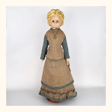Antique wax over papier mache tall and skinny lady in wonderful dress
