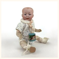 Antique miniature German bisque head character baby