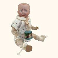Antique miniature German bisque head character baby