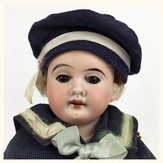 Antique German bisque head small boy sailor doll