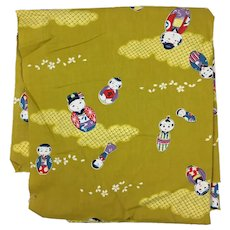 Vintage Printed cotton fabric Japanese with kokeshi doll motif