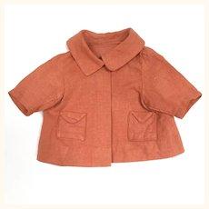 Vintage coral linen doll jacket