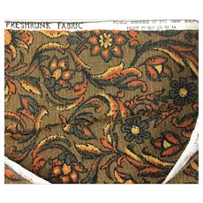 Vintage brown graphic floral cotton barkcloth