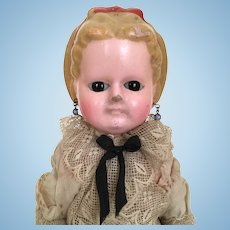 Wax-over doll papier mache doll with Alice hairstyle