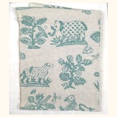 Vintage linen and cotton sample with fantastical animals.