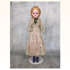 Antique Wax-over papier mache doll with Alice hairstyle