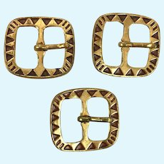 Three antique small Art Deco buckles for doll clothing