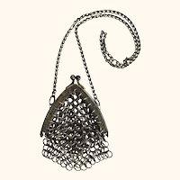 Antique dark brass tiny doll's purse