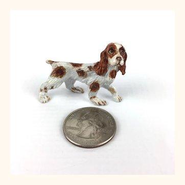 Vintage painted metal artisan dollhouse spaniel dog