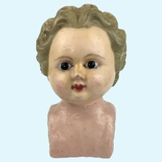 Antique large wax over doll's head