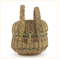 Antique Miniature two handled wicker doll sized basket