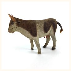 Antique miniature flocked Longhorn cow