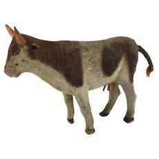 Antique miniature flocked Longhorn cow