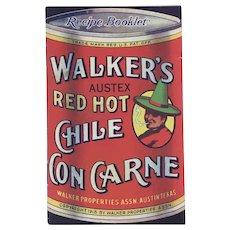 Antique Walker's Red Hot Chile con Carne Recipe booklet
