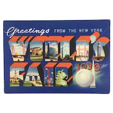 Vintage 1939 New York World's Fair accordion postcard