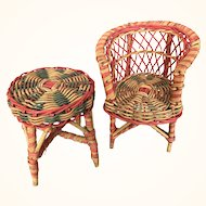 Vintage miniature wicker doll furniture