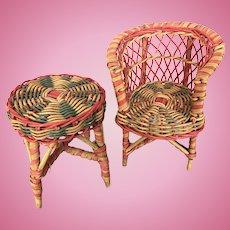 Vintage miniature wicker furniture