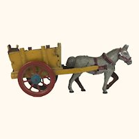 Antique German Penny Toy yellow farm cart with Horse