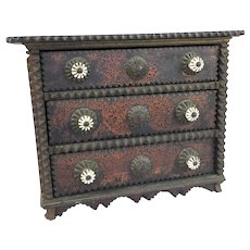 Fabulous tramp art small chest of drawers