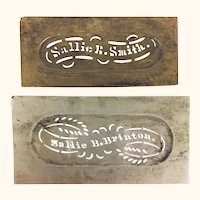 Two antique brass sewing stencils