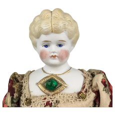 Antique blonde Hertwig parian china lady doll with jeweled neckline