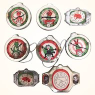 Vintage Japanese toy watch faces, lot of eight