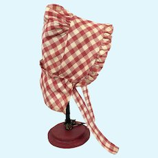 Early cotton gingham doll's bonnet