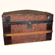 Antique large doll trunk tin and wood