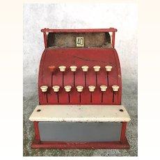 Vintage barn red toy cash register