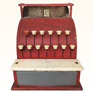Vintage barn red toy cash register
