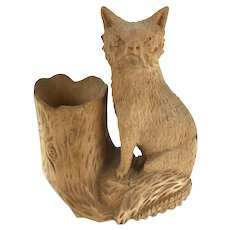 Late 19th Century carved folk art fox and tree stump inkwell