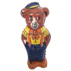 Vintage wind up tin bear, windup toy, walking bear by J. Chein, mechanical bear
