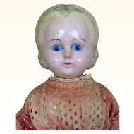 Wax-over Papier mache doll with Alice hairstyle