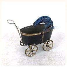 Old dollhouse miniature painted tin baby carriage
