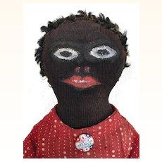 Handmade folk art black cloth doll