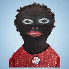 Handmade folk art black cloth doll