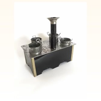 Dollhouse Tin Stove, in Larger scale with pots, pans and chimney