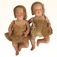 French pair of celluloid miniature babies