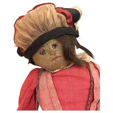 Unusual cloth folk art doll with fabulous shoes
