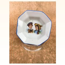 Miniature plate, doll sized china platter with charming illustration