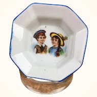 Miniature plate or doll sized china platter with charming illustration