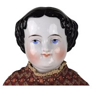 Alt Beck Flat Top China head doll in lovely antique dress